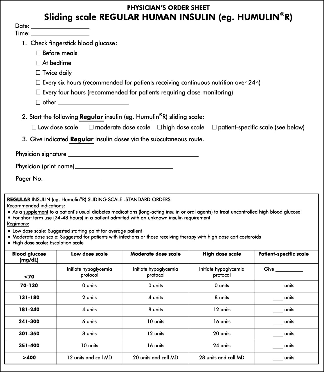 insulin sliding scale chart for patient: Use of a standardized protocol to decrease medication errors and